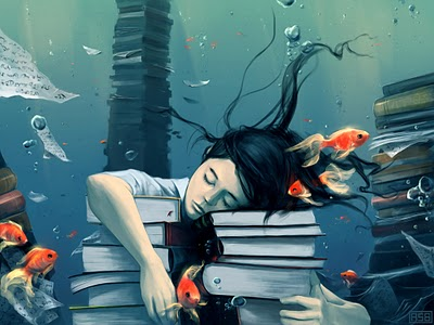 Girl sleeping on books underwater