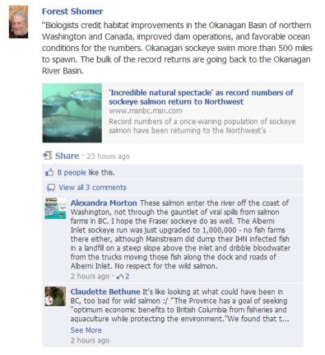Morton comment about salmon returns in Alberni and WA