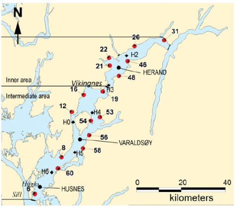 Salmon farm sites in Hardangerfjord